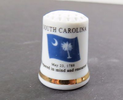 Porcelain State Flag Thimble - South Carolina - Flag, Motto, Flower, Bird