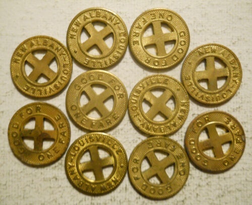 Lot of ten (10) New Albany-Louisville (Indiana) transit tokens - IN680E