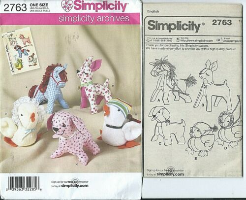 S 2763 sewing pattern Stuffed HORSE DEER DOG CHICKEN DUCK sew Animal TOYS *UNCUT