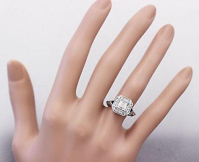 GIA F-VS2 18k White Gold Asscher Cut Diamond Engagement Deco Halo Ring 1.45ctw 3