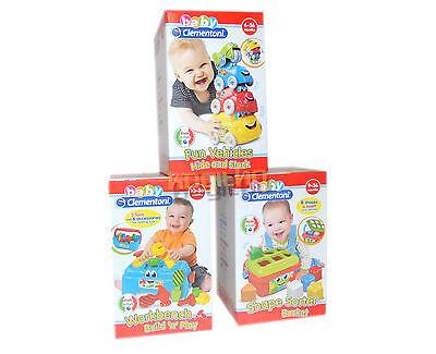 Clementoni 3er Pack Baby Spielzeug Fahrzeuge Auto Werkbank Formen Box Kleinkind ()