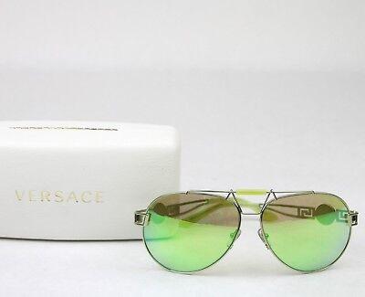 Versace Lime Green Mirrored Metal Aviator Sunglasses 2160 (Lime Green Aviator Sunglasses)