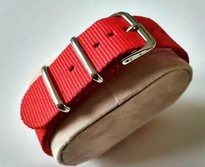 16 mm Nato Strap Correa Reloj Nylon Pulsera Watch band Red Rojo
