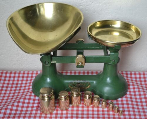 """VINTAGE ENGLISH KITCHEN SCALES GREEN """"THE VIKING"""" 9 BRASS METRIC CHURN WEIGHTS"""