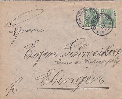 CANNSTATT, Briefumschlag 1905, Julius Messner