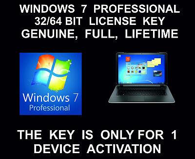 Windows 7 Professional 32 Bit  64 Bit  Full Version  License Key  Genuine  Life