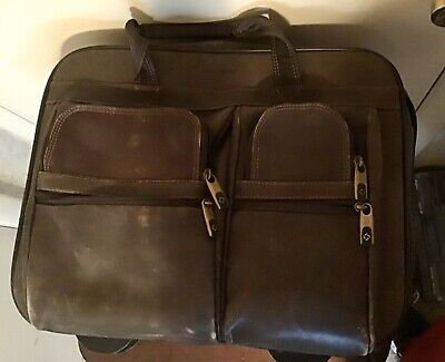 Samsonite Leather Rolling Briefcase Dark Brown