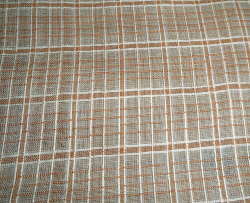 Antique 19th Woven Plaid Dimity Shirting Cotton Fabric ~ Burnt Apricot Cream