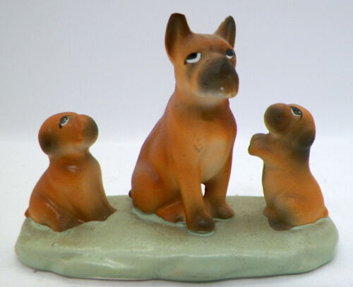 Vintage Enesco Japan Boxer Dog w/Puppies Family Figurine