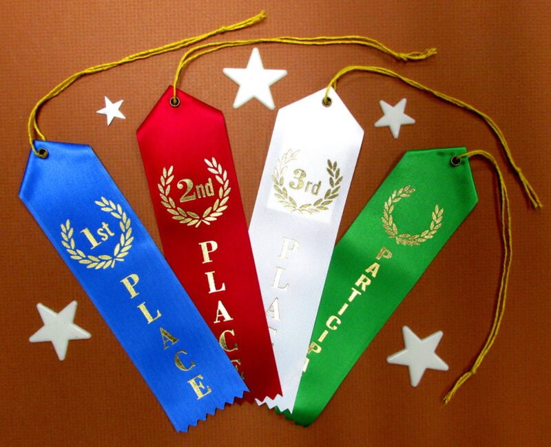 1st 2nd 3rd Place & Participant QUALITY Award Ribbons wCard-String 2x8 FAST SHIP