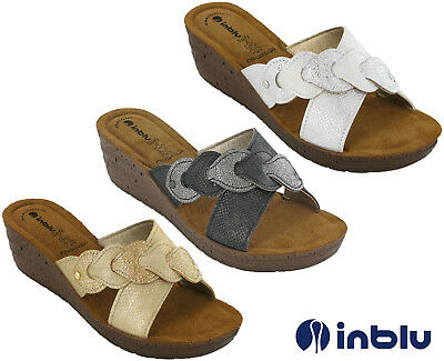 Wedge Sandals Slip On Inblu Padded Leather Insock Cross Strap Open Toe UK 2.5-8 2 Plain Toe Slip