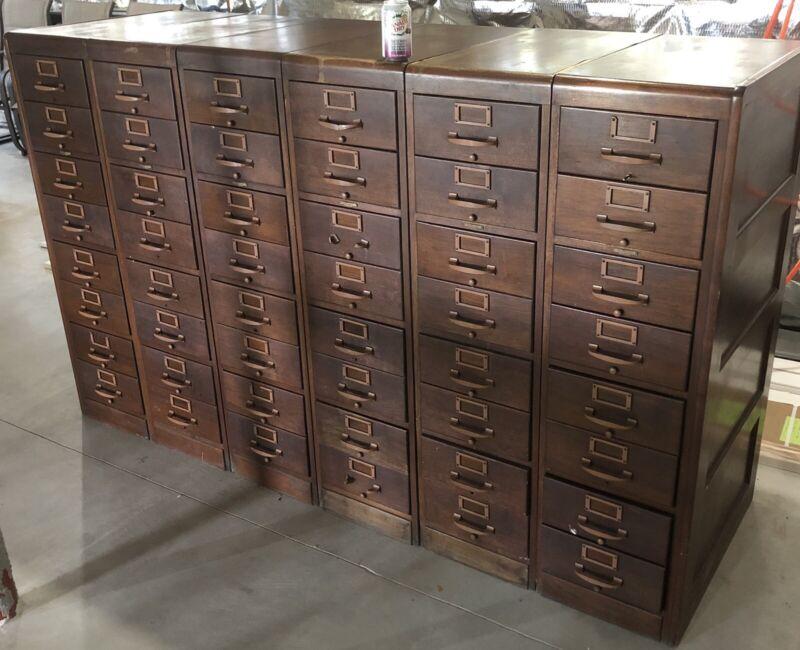 Antique 6-Piece Modular Library Card Catalog File Cabinet Remington Rand Wooden