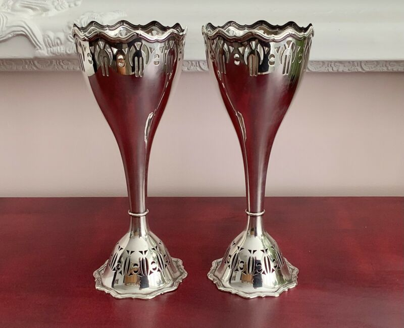 """Pristine Matching Pair Of 9"""" WMF German Art Nouveau Silver Plated Vases C1900"""