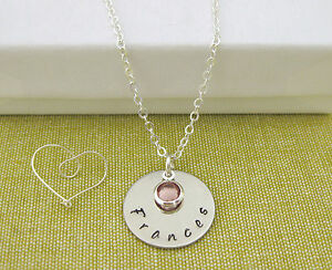 Personalised Jewellery Hand Stamped Name Pendant Birthstone Necklace Gift