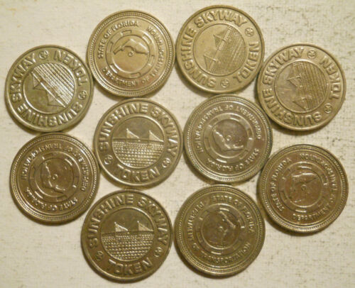 Lot of 10 Sunshine Skyway (St. Petersburg, Florida) transit tokens - FL880M