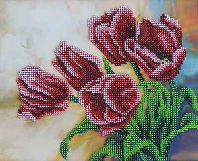 Bead Embroidery kit Spring Tulips Beaded cross stitch Needlepoint Handcraft