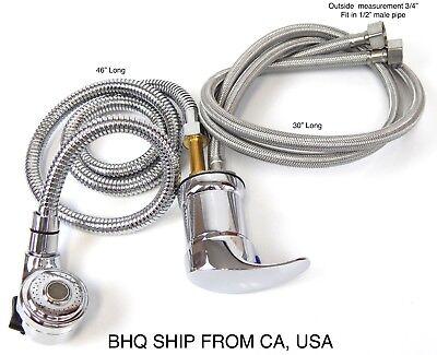 Faucet and Spray Hose for Beauty Salon Shampoo Bowl Parts Kit (Silver Head)