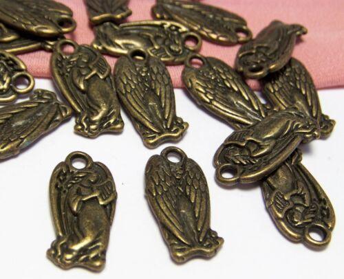 50 BRONZE CHARMS LOT-PENDANTS-ANGEL HARP-DETAILED GUARDIAN ANGEL-JEWELRY MAKING