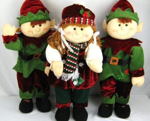 "lot of 3 ~ LARGE 26"" CHRISTMAS ELVES ELF - POSEABLE - FREE US SHIPPING"