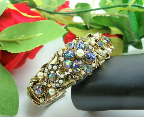 Vtg TAMMY JEWELS Rhinestone Blue Opal Art Glass Double Hinged Clamper Bracelet