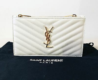 NWT AUTH Yves Saint Laurent YSL Monogram Wallet Clutch Caviar Leather Ivory $890