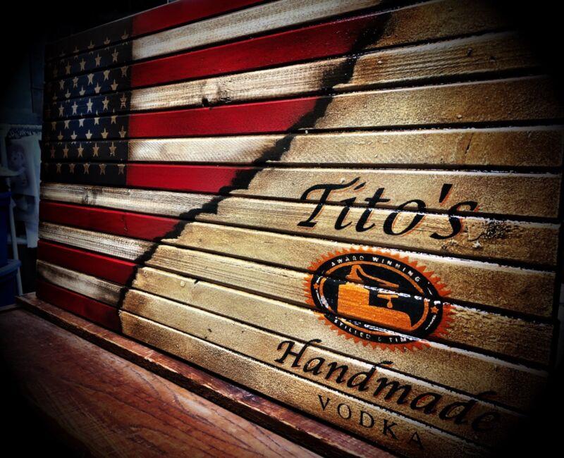 Tito's Vodka Wooden Flag Sign