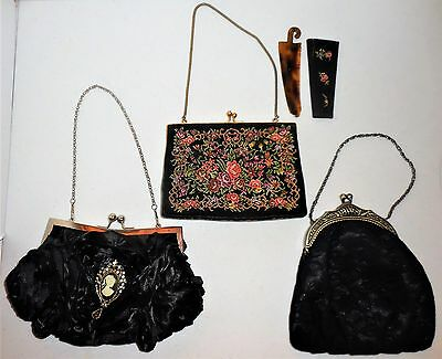 VTG 3pc Clutch Purse Set Bejeweled Cameo & Tapestry Matching Comb Kiss (Cameo Vintage Clutch)
