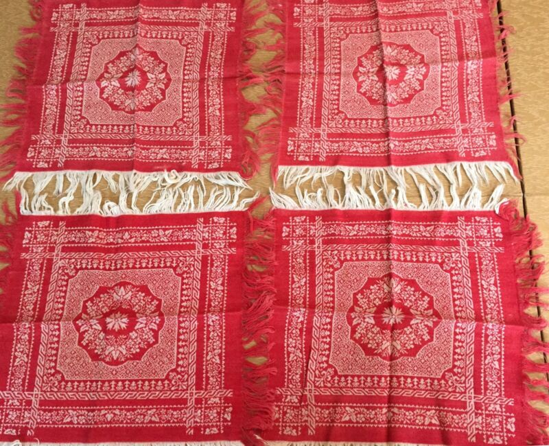 Lot Of 4 Antique Damask Fabric Napkins, red & white reversable, cutters.