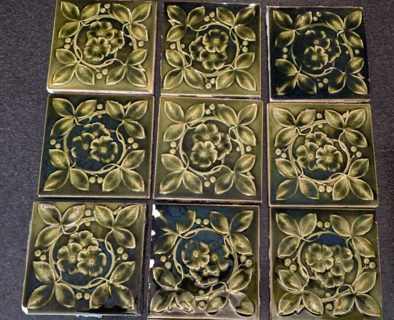 Antique Encaustic Tile Co Salvage Majolica Green Floral Fireplace Tiles Set of 9