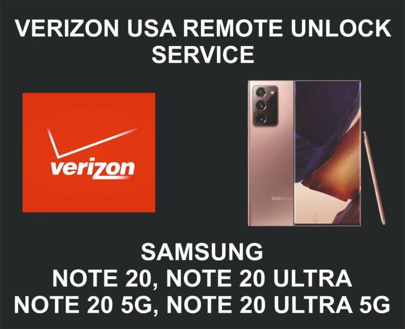 Verizon USA Remote Unlock Service, Samsung Note 20, Note 20 Ultra, 5G
