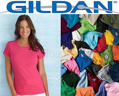 100 Gildan Women's Any Color Blank T shirts BULK LOT S-XL wholesale Plain Ladies