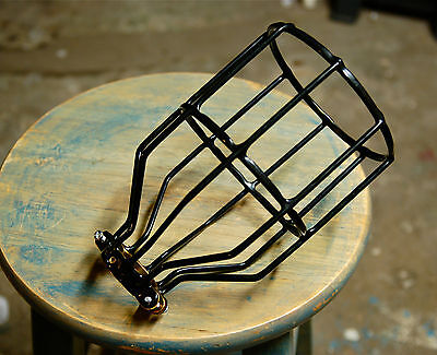 Black Bulb Guard, Clamp On Lamp Squirrel Cage, Vintage Trouble Lights Industrial