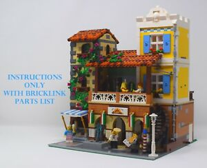 Modular Italian Restaurant CUSTOM INSTRUCTIONS ONLY for LEGO Bricks (Pizzeria)