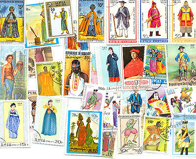 Costumes-Clothes-Uniforms on stamps 300 all different collection-med/large