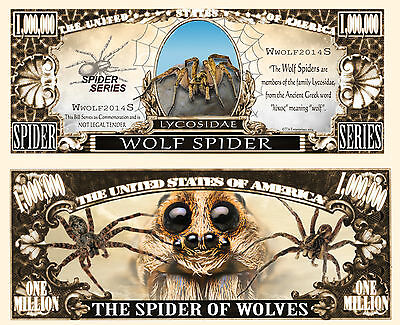 Wolf Spider Million Dollar Bill Collectible Fake Play Funny Money Novelty Note