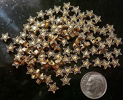 - 100 Yellow gold plated 7mm star shaped spacer beads create earrings beads fpb179