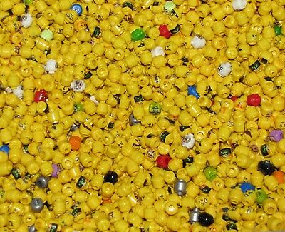 LEGO BULK LOT OF 100 NEW MINIFIGURE HEADS TOWN CITY PIRATE NINJAGO MINIFIG PARTS