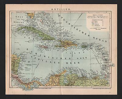 Landkarte map 1899: ANTILLEN Cuba Puerto Rico Dominikanische Rep. Jamaika Haiti ()