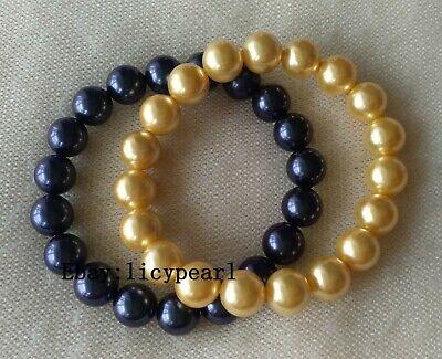 Shell Pearl Bracelet, 2 pcs 10mm Muschelperle Stretch-Armband