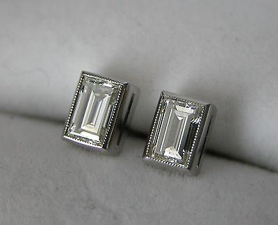 1930 ART DECO PLATINUM EMERALD CUT DIAMOND STUD EARRINGS 0.70 CT ANTIQUE