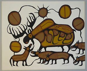 Canada-First-Nations-Artist-NORVAL-MORRISSEAU-LEP-Hand-Signed