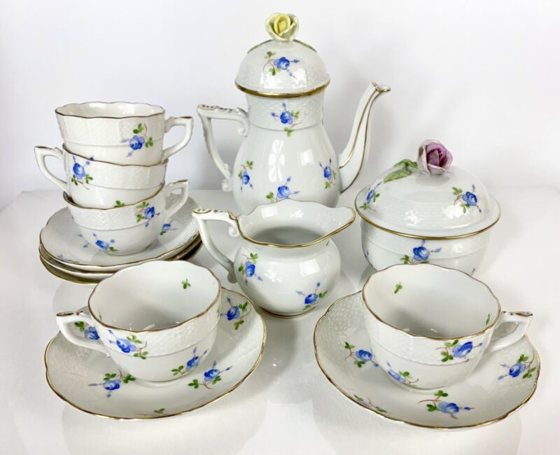Beautiful Vintage Herend Demitasse/Coffee Service Set - Blue Flowers C 1941