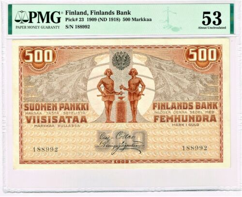 Finland: Finlands Bank 500 Markkaa 1909 (ND 1918) Pick 23 PMG About Unc. 53.