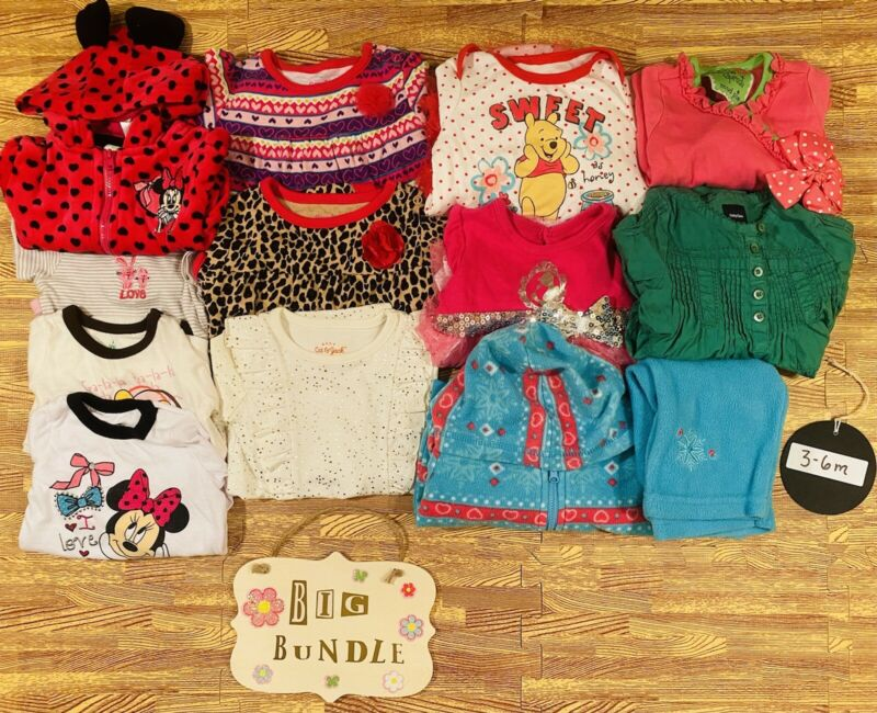 Baby Girls Size 3-6m Fall Winter Disney Clothes Lot