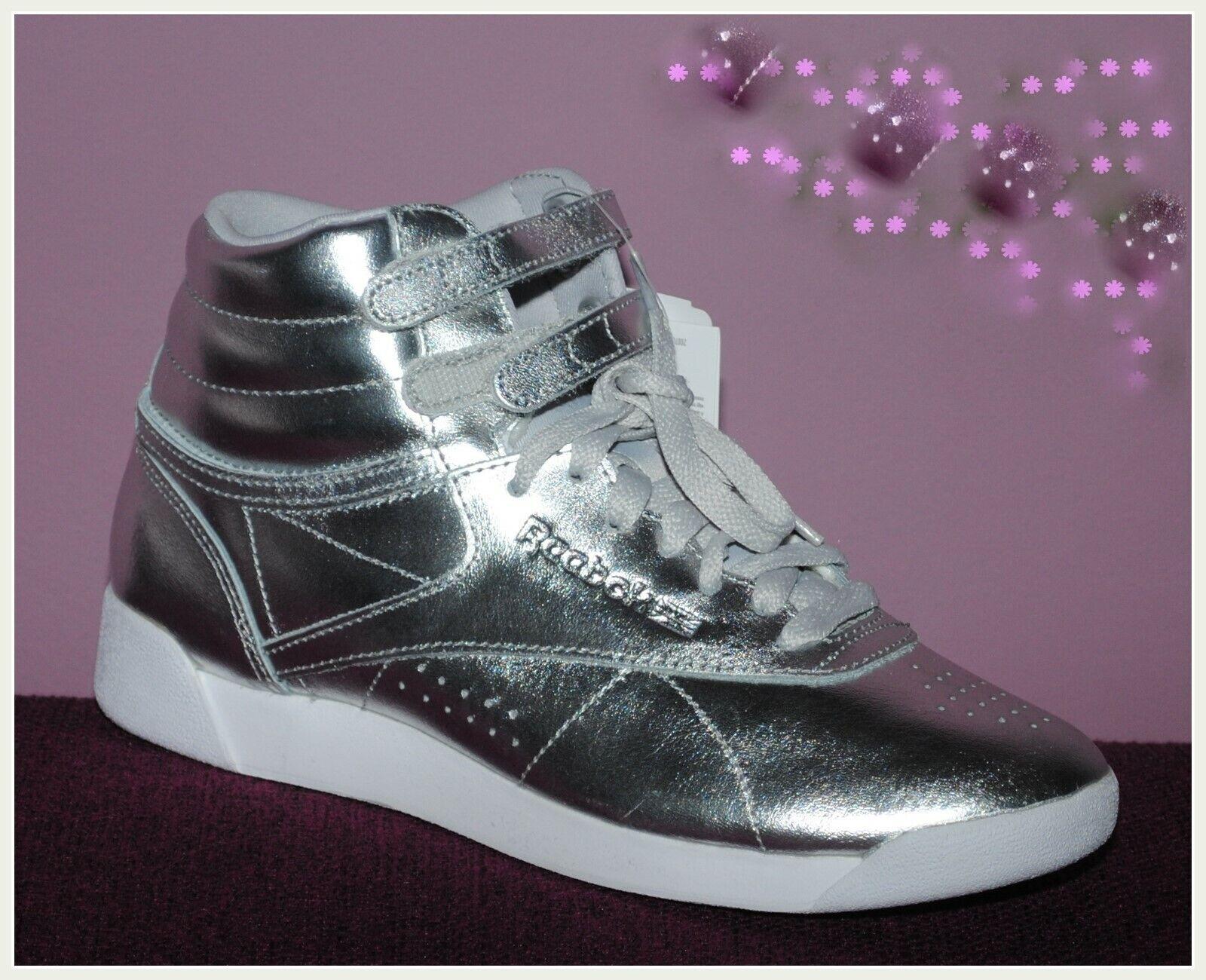 Sneaker Freizeitschuhe Schuhe Mädchen Reebok Freestyle Silber Metallic Gr. 37