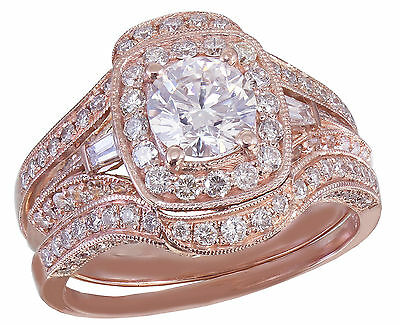 GIA H-VS2 14k Rose Gold Round Cut Diamond Engagement Ring And Bands 2.70ctw 8