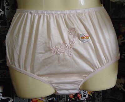 NOS Vtg Pink Petal Soft Nylon Panties S Unworn Oldstock Waist 20-34 Embroidered