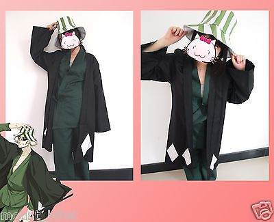 Japanese anime Animation Bleach Urahara Kisuke Cosplay Costume with hat