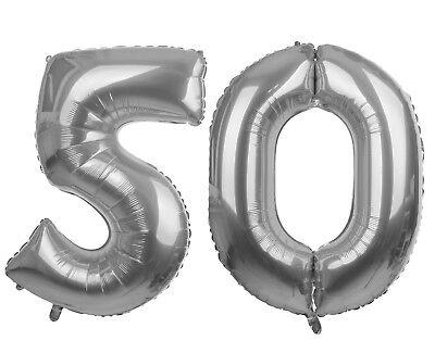 50 silber 86- 100cm Luftballons Folienballon Geburtstag xxl (Nummer 50 Ballons)