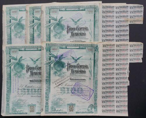 "Mexico - Banco Central Mexicano - 1905 - share A 100 pesos ""blueberry"" 5x"